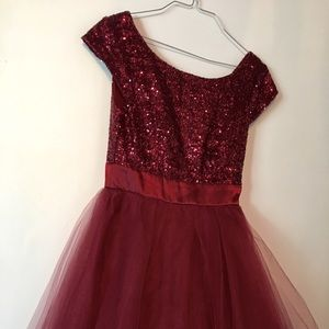 Formal red sparkle and tule dress